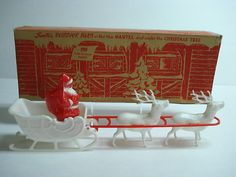 Vintage Christmas Santa Collectible ~ Santa Claus in his Sleigh with Reindeer by Irwin * Circa, 1950's