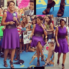 PICC Cover Fashions - Beautiful! Robin Roberts in purple 'Vixen' PICC Cover Fashions TM arm band sleeve by Cast Cover Fashions. July 26, 2012. NYC.