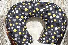 Citron and Gray Lolli Dots with Minky Boppy Cover. $25.00, via Etsy.