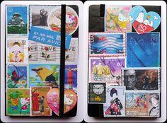 postage stamps / moleskine journal