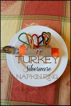 Thanksgiving Turkey Silverware Napkin Rings ~ Perfect for the kids Thanksgiving table.