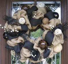 Natural Jute BURLAP and BLACK WREATH by decoglitz on Etsy