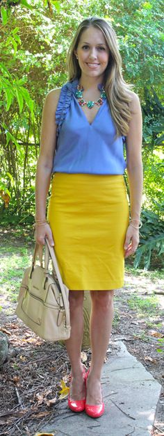 Periwinkle and mustard outfit