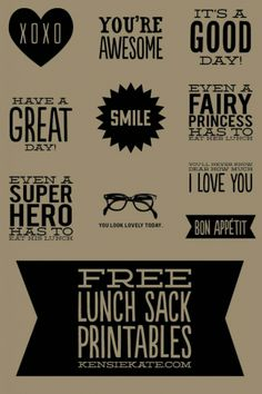 paper lunch sack printables- too cute!