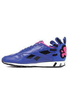 Reebok Shoe Keith Haring Classic Leather Lux in Vital Blue, Dynamic Pink, Black, & White