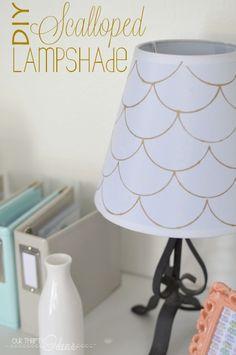 DIY scalloped lamp shade using Elmers Painters