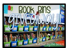Book Bins - GIVEAWAY!!  Love how beautiful and organized the lime/blue combo looks in the library.  Fingers crossed!!