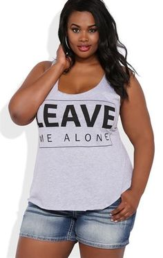 Deb Shops Plus Size Racerback Tank Top with Leave Me Alone Screen $14.00