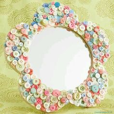 Button art mirror - So cute for a little girls room!