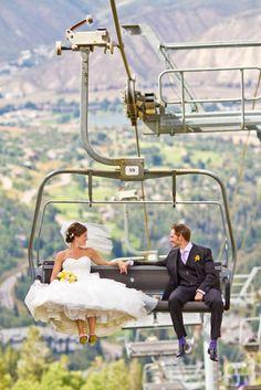 ski resorts, mountains, mountain weddings, wedding pics, chairs