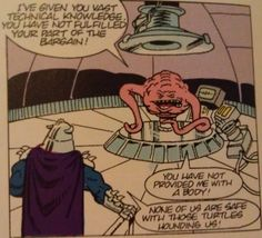 Krang is a warlord from the planet Dimension X. His plan is to make earth his new planet but the Ninja Turtles interrupt his plans. Read more on Krang. mutant ninja, turtl interrupt, planet dimens, ninja turtles