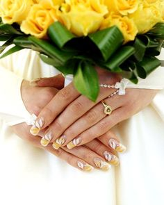 Floral nail French Manicure design for the bride