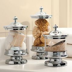 Jars filled with sponges, soaps and bath salts