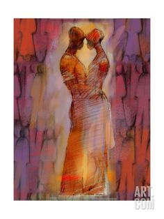 Abstract Embrace in Red Premium Poster at Art.com