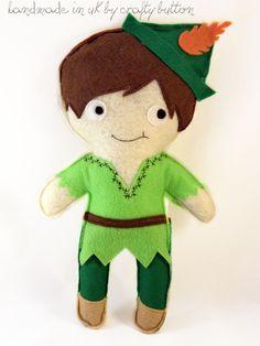 Peter Pan plush toy  felt toy  Disney by TheCraftyButtonUK on Etsy