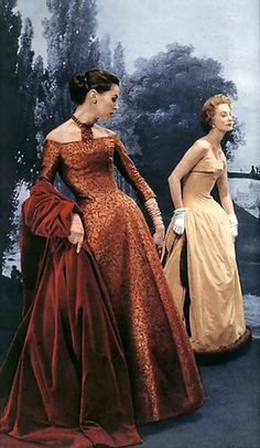 A beautiful rust colored brocade gown with velvet coat and a strapless winter gown trimmed in mink, by Christian Dior, 1954