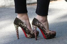 sequins.gold.red bottoms.