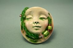 Green Goddess Ceramic Brooch and Pendant by FeatherheadStudio, $55.00
