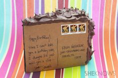 Make a slice of cake postcard for a birthday card!