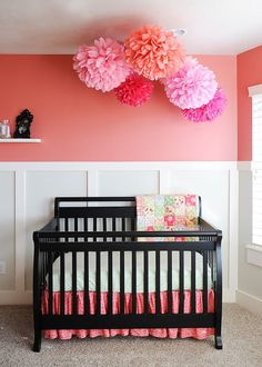 nursery tissue poms-LOVE for above the twin's beds... want to do dark pink, light pink, and purple