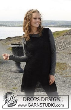 """Knitted DROPS tunic in """"Lin"""". Size S-XXXL. ~ DROPS Design"""