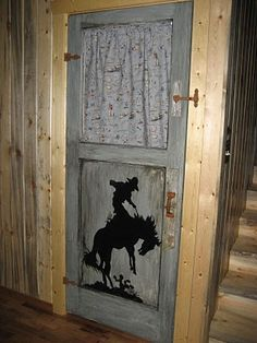 Door repurposed with curtain at top at Rodeo Tales & Gypsy Trails