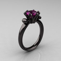 black gold ring with amethyst