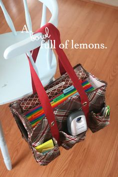 Organizing with utility totes | A Bowl Full of Lemons