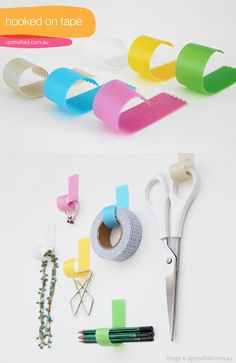 tape hooks....would be so cute in my craftroom