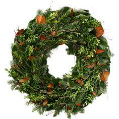 wood wreath, magnolia compani, christma
