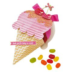 Free template for this cute ice cream gift box. Top with micro bead sprinkles!   From Papercraft inspirations issue 127 (July 2014).