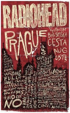 marlenedoll:    Bruce Young | Radiohead Gig Poster  #Typography #gig poster #music #radiohead #graphic design #poster #red