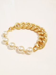 COCO bfrend Bracelet- Gold Chunky Chain with Large Pearls, bfrend
