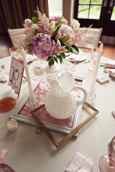 Centerpieces Milk Glass and Picture Frames