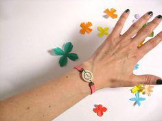 PINK FLUOR Fake watch with elastic watchband by misakomimoko