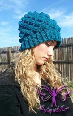 Adult Herringbone Bobble Beanie by Ashley Bower | Crochet Pattern - via @Craftsy