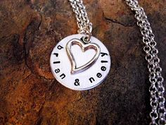 Cute customized necklace charms with great reviews on Etsy!  Valentines Day Jewelry, Personalized Jewelry, Heart Necklace, Sweetheart Necklace, Valentines Day Necklace, Hand Stamped Jewelry