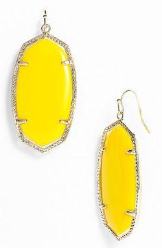 """Kendra Scott """"Danielle"""" Earrings in Yellow Onyx"""