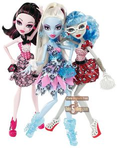 Dot Dead Gorgeous 3 pack  Draculaura, Abbey, Ghoulia   exclusive Walmart Christmas 2012