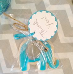 Cookie favors at a Elephant baby shower! See more party ideas at ...