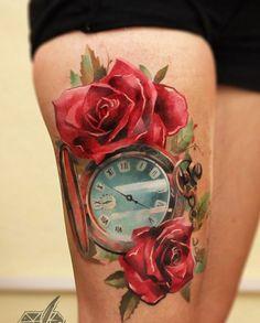 1337tattoos:  Timur Denisenko tattoo idea, thigh tattoos, watercolor tattoos, rose tattoos, red rose, pocket watches, clock tattoo, face tattoos, ink