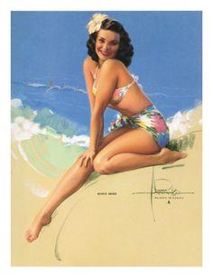 Sunny Skies, Pin-Up of Miss Hawaii 1950 Elsa Edsman, c.1953 Giclee Print