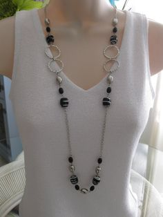 Long Black and Silver Beaded Necklace Chunky by RalstonOriginals, $18.00