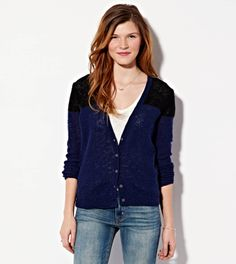 Colorblock Reverse Ribbed Cardigan