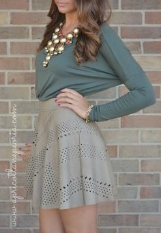 Leather-Like Skater Skirt add tight, statement necklaces, color combos, leather skirts, holiday outfits, skater skirts, skirt outfits, spring outfits, bubble necklaces