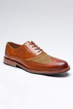 Leather wingtip men's shoe.