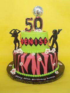 50th Disco Themed Birthday Cake by CakesUniqueByAmy.com, via Flickr