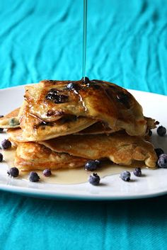 Delicious Gluten Free Pancakes with blueberrie topping
