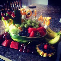 Baseball fruit display!!