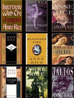 Anne Rice Books - especially the Vampire Chronicles and the lives of the Mayfair Witches! Worth Reading, Vampires Chronicles, Vampires Book, Favorite Book, Anne Rice Book, Rice Vampires, Vampires Series, Favorite Author, Book Series